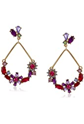 """Betsey Johnson """"Fall Follies"""" Mixed Faceted Stone Large Drop Earrings"""