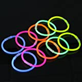 Lot de 100 Bàtons Bracelets Lumineux Fluorescents, Couleurs Assorties