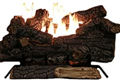 Sure Heat Riverside Oak Vent Free Dual Burner Log Set for Natural Gas Fueled Fireplace, 24-Inch