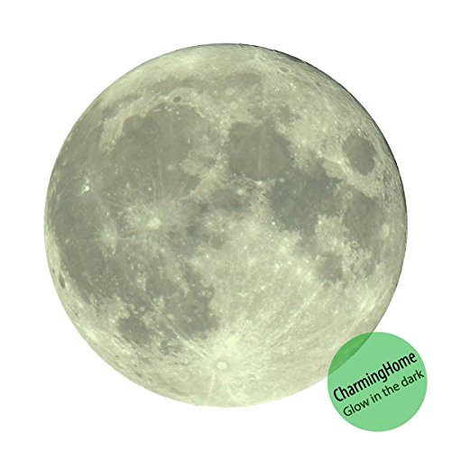 Glow in the Dark Moon Sticker - Moon Decals Glow - Moonlight Glow in the Dark Moon Wall Decal Sticker (7.87 Inches / 20 cm) by CharmingHome