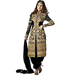 Prachi Silk Mills Women`s Georgette Embroidered Semi-stitched Salwar Suit Dupatta Material(Black Sherwani)