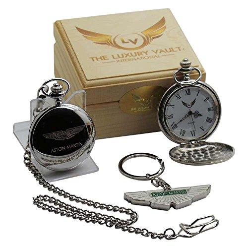 aston-martin-silber-taschenuhr-und-schlusselanhanger-geschenk-set-in-fall-flugeln-logo-real-vergolde