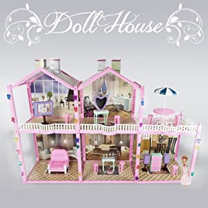 139 PCS Large Dollhouse Pretend House Condo 2 Story 3 Rooms Fits Barbie