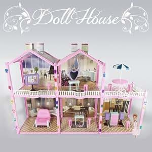 139 PCS Large Dollhouse Pretend House Condo 2 Story 3 Rooms Fits Barbie