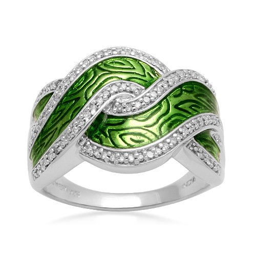 Sterling Silver Translucent Green Enamel Diamond Ring (1/5 cttw, I-J Color, I2-I3 Clarity), Size 5