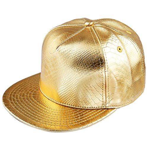 shanxing-unisex-baseball-cap-pu-snapback-flat-peak-hip-hop-adjustable-hatgold
