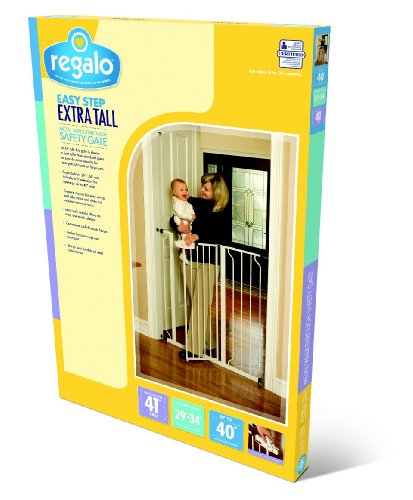 Regalo Easy Step Extra Tall Walk Thru Gate White Baby