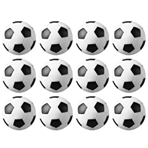 12 Black and White Engraved Soccer Foosballs