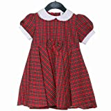 Cotton Dress with bow, Royal Stewart Tartan