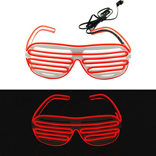 Ystd® Fashion El Wire Neon Led Light Up Shutter Shaped Glasses For Rave Costume Party (White+Red)