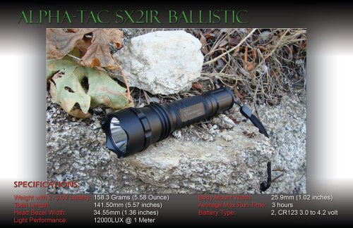 Alpha-Tac Sx21R-M Military High-Output Precision Led Tactical Flashlight (12,000 Lux)