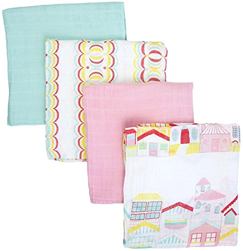Weegoamigo Four Pack Muslin Swaddle - Doll's House - 1