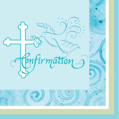 Creative Converting Faithful Dove Cross Confirmation Beverage Napkins, Blue, 16 Count