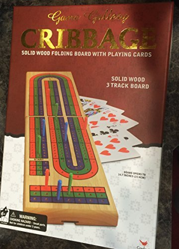 Cribbage Solid Wood Folding Board with Cards - Game Gallery