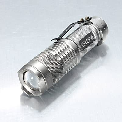 UltraFire® 7W 300LM Mini CREE LED Flashlight Torch Adjustable Focus Zoom Light Lamp-Silver(3 mode)