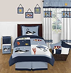 Ocean Blue Sea Life Childrens and Kids 3 Piece Full / Queen Boys Bedding Set Collection