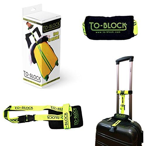 To-block cinghia porta borse a nastro per trolley da viaggio. Blocco e fermo di sicurezza per bagaglio a mano.