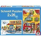 Schmidt Fire Brigade and Police Jigsaws (2x26 Pieces)by Schmidt