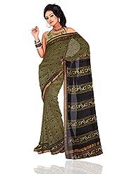 Unnati Silks Women Pure Kota Silk Saree Green And Black Bagru Printed Saree With Matching Blouse