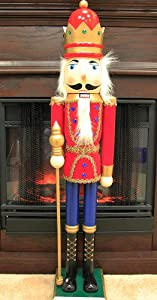 3 Foot Red Velvet Soldier King Decorative Christmas Nutcracker with Scepter