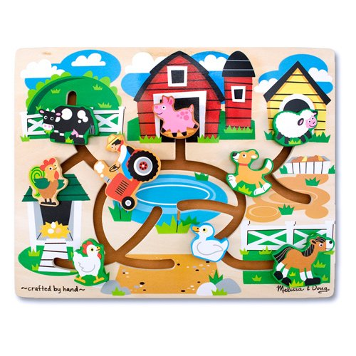 Cheap Fun Melissa & Doug Colorful Wooden Farm Maze Puzzle (B002SMOLE4)