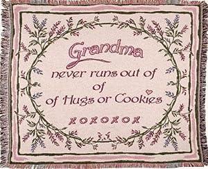 """Pink """"Grandma"""" Hugs & Cookies Afghan Throw Blanket 50"""" x 60"""""""