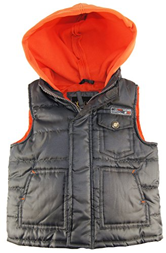 Ixtreme Little Boys Puffer Vest With Polar Fleece Hoodie, Gray, 3T front-854281