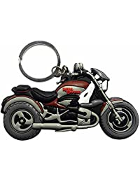 Techpro Double-Sided Royal Enfield Bike Model Rubber Keychain (Multi-Color)