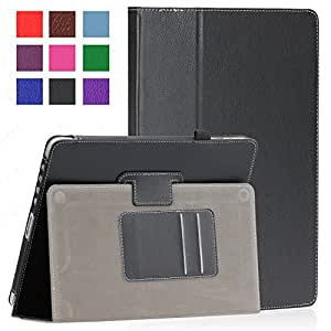 SAVEICON Black PU Folio Leather Case Cover with Built-in Stand for Apple iPad 1 1st Generation