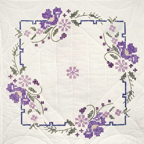 Fairway 92403 Quilt Blocks, Pansies Design, White, 6 Blocks Per Set