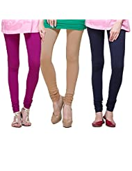 TSG Breeze Cotton Churidar Leggings- Pack of 3-Navy, Mouve & Fawn Colour (Free Size)
