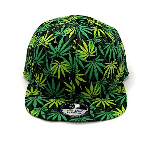 Cap2shoes-Marijuana-Weed-Leaf-Cannabis-Snapback-Hat-Cap-All-Over-Green