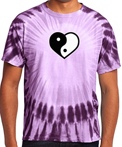 Mens Yin Yang Heart Tie Dye Tee, Xl Purple