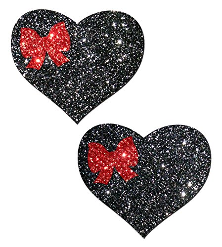 Black Glitter Heart With Red Bow Accent Nipple Pasties By Pastease O/S