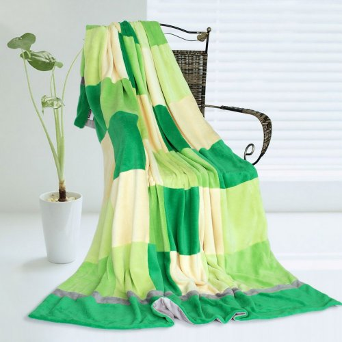 Onitiva - [Plaids - Green Day] Soft Coral Fleece Patchwork Throw Blanket (59 By 78.7 Inches) front-204645