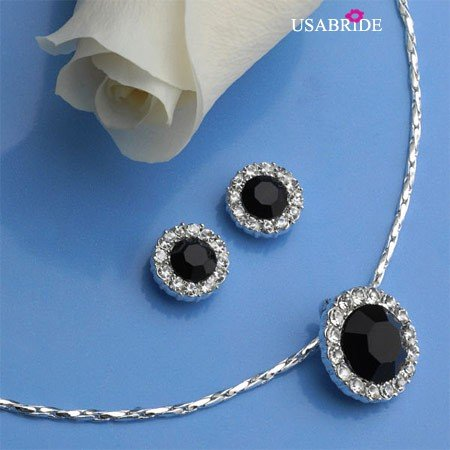 Black Circle Rhinestone Pendant Jewelry Set, Bridal Jewelry 677 BL