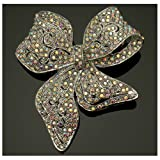 Acosta Brooches - Elegant AB Swarovski Crystal - Silver Coloured Bridal Bow Brooch - Gift Boxed
