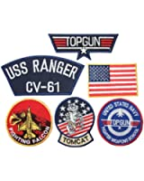 Maverick Top Gun Fancy Dress Iron on Patch - Set of 6 Embroidered badges