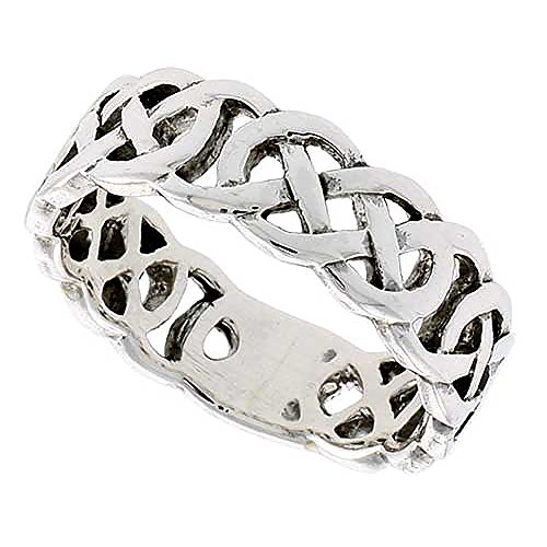 Sterling Silver Celtic Knot Flat Wedding Band Thumb Ring 1/4 Inch Wide, Size 14