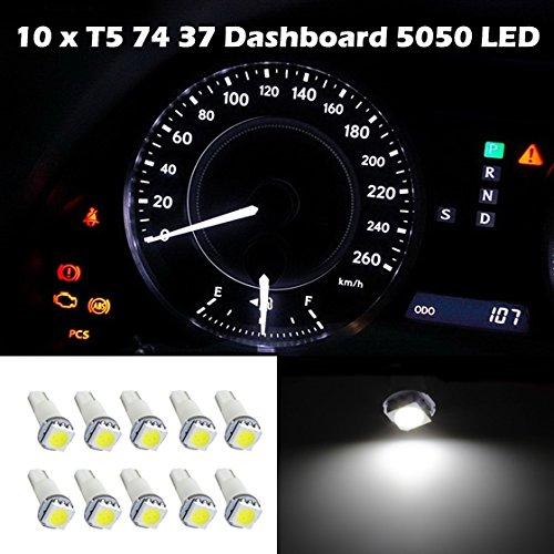 Partsam 10X Chevy T5 17 37 73 74 79 Wedge Instrument Dashboard Led Light Bulb Lamp White For 2010 2011 Honda Accord Crosstour