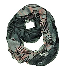 WishCart Women's Infinity Circle Scarf Lightweight Leopard and Zebra Printing -Tiger,Grey+Pink