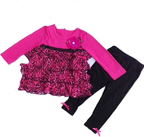 Baby Girls Toddler Zebra Sequin Top Cake Dress Pant Outfits Sets