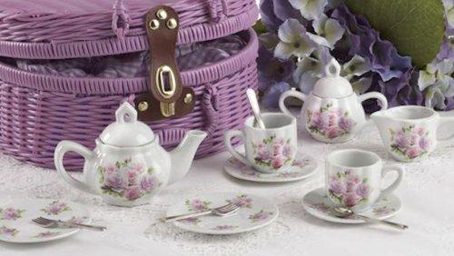 Child Size Pretty Littlel Tea Set In Basket, Pink Rose Pattern.. Tea For Two