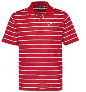 NCAA Utah Utes Men's Links Tech Pebble Texture Classic Stripe Short Sleeve Polo, Cardinal/White, 3X-Large
