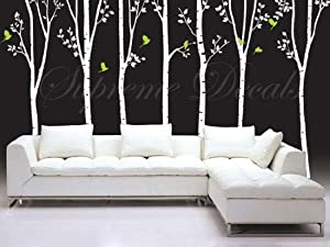 Custom Color PopDecals - Tree Decals Vinyl Wall Art - 7 Big Cool Trees(88inch H) - Stickers Home Decor Wall Mural