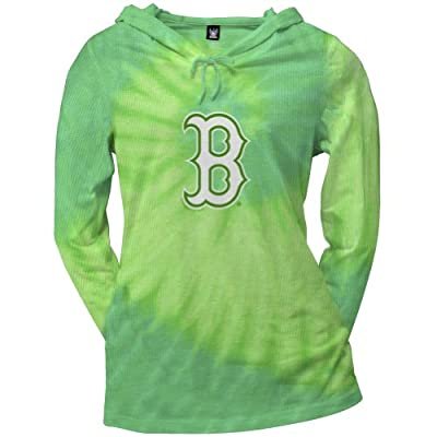 Boston Red Sox - Womens Logo Tie Dye Juniors Thermal Hoodie