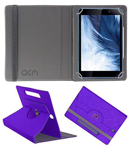 Acm Designer Rotating Leather Flip Case For Iball Slide Co-Mate Tablet Cover Stand Purple