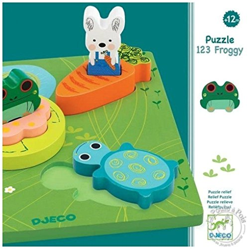 Djeco DJ01047 Wooden Puzzle- 1 2 3 Froggy Puzzle