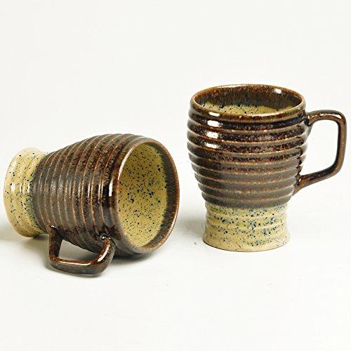 Cultural Concepts Beige N Brown Cara Milk Mugs - Set Of 2