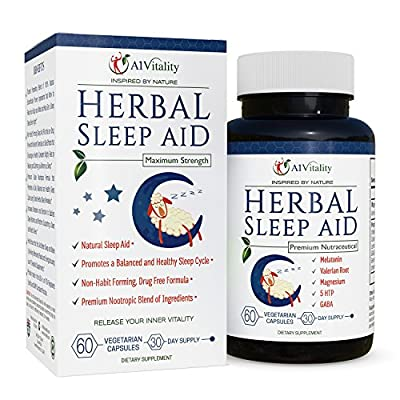 Herbal Sleep Aid - Natural Sleep Aid - Non-Habit Forming Sleeping Pills - Includes Valerian Root, Melatonin, Lemon Balm, Chamomile - Aids Serotonin - 100% Money Back Guarantee - 60 Vegetarian Capsules